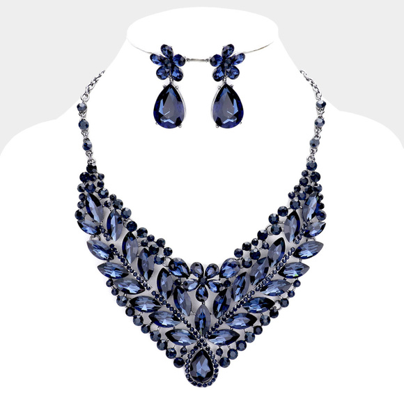 Jewelry - Stone Cluster Leaf Evening Necklace Earrings
